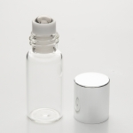 Slim Roll-On 3ml Clear Glass with Stainless Steel Roller and Gold Cap