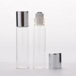 Slim Cylinder Roll-On 5ml (1/6 oz) Clear Glass Bottle with Stainless Roller and Gold  Cap